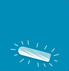 Slika bijelog tampon na plavoj pozadini, tampon ima crtice oko njega.