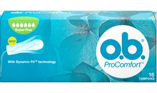 Slika pakiranja o.b.® ProComfort™ Super Plus. Proizvod ima šest kapljica što znači da se preporučuje za dane s jakim do vrlo jakim krvarenjem.