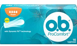Slika pakiranja o.b.® ProComfort™ Super. Proizvod ima četri kapljice što znači da se preporučuje za dane sa srednjim do jakim krvarenjem.