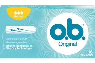 Slika pakiranja o.b.® Original Normal. Proizvod ima tri kapljice što znači da se preporučuje za dane sa slabim do srednje jakim krvarenjem.