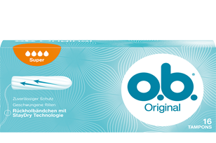 Slika pakiranja o.b.® Original Super. Proizvod ima četri kapljice što znači da se preporučuje za dane sa srednjim do jakim krvarenjem.